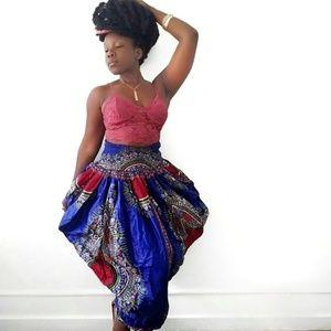 Dresses & Skirts - Royal Blue African Wax Skirt